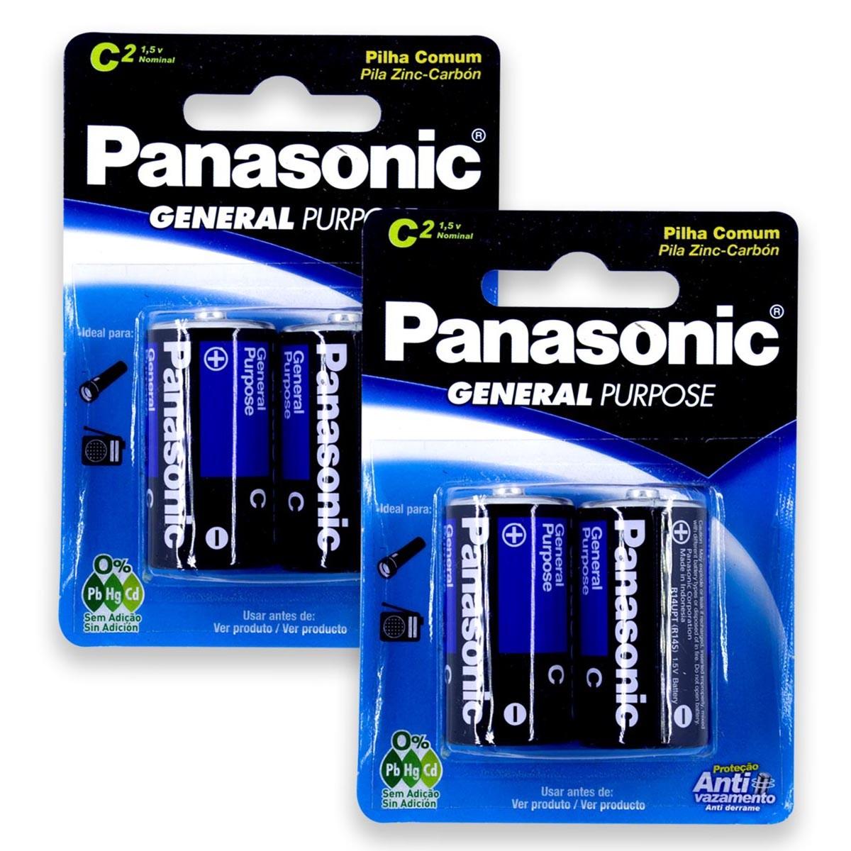 04 Pilhas C Zinco Carvão PANASONIC 2 cartelas