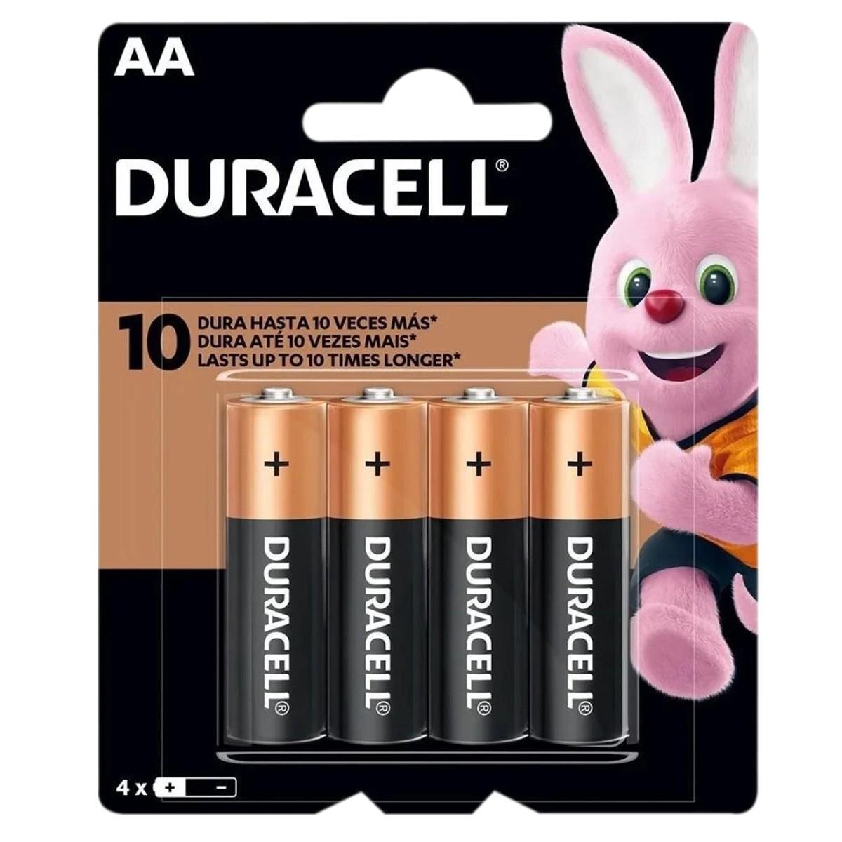 04 Pilhas DURACELL DURALOCK Alcalina AA Embalagem C/4 Unids