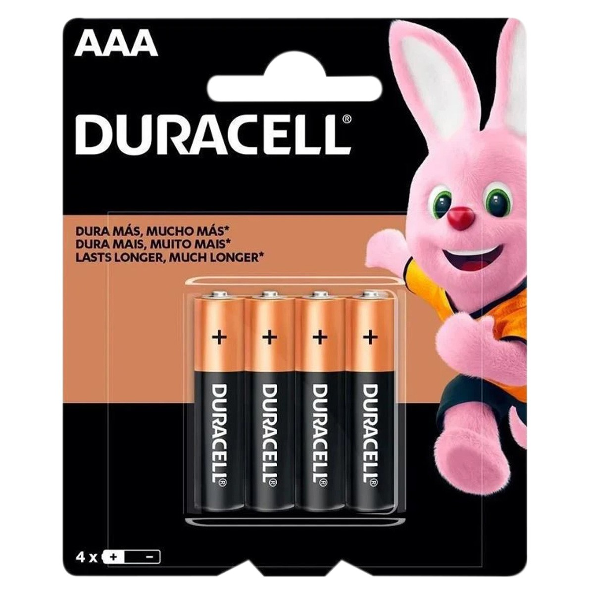 04 Pilhas DURACELL DURALOCK Alcalina AAA Embalagem C/4 Unids