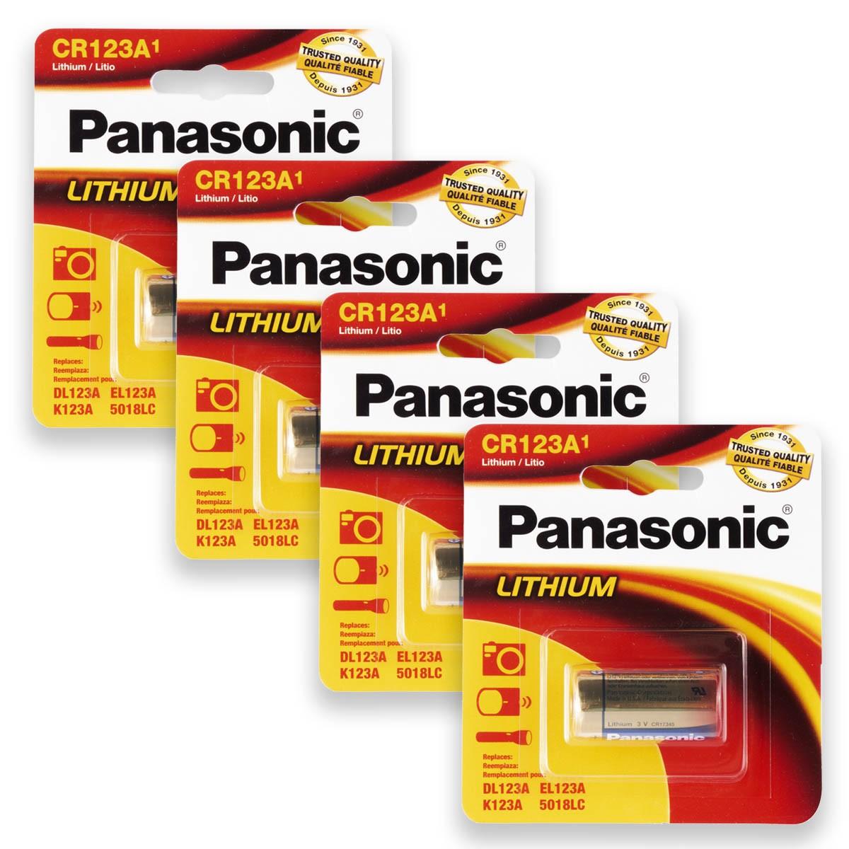 04 Pilhas PANASONIC CR123A 3V Bateria 4 cartelas