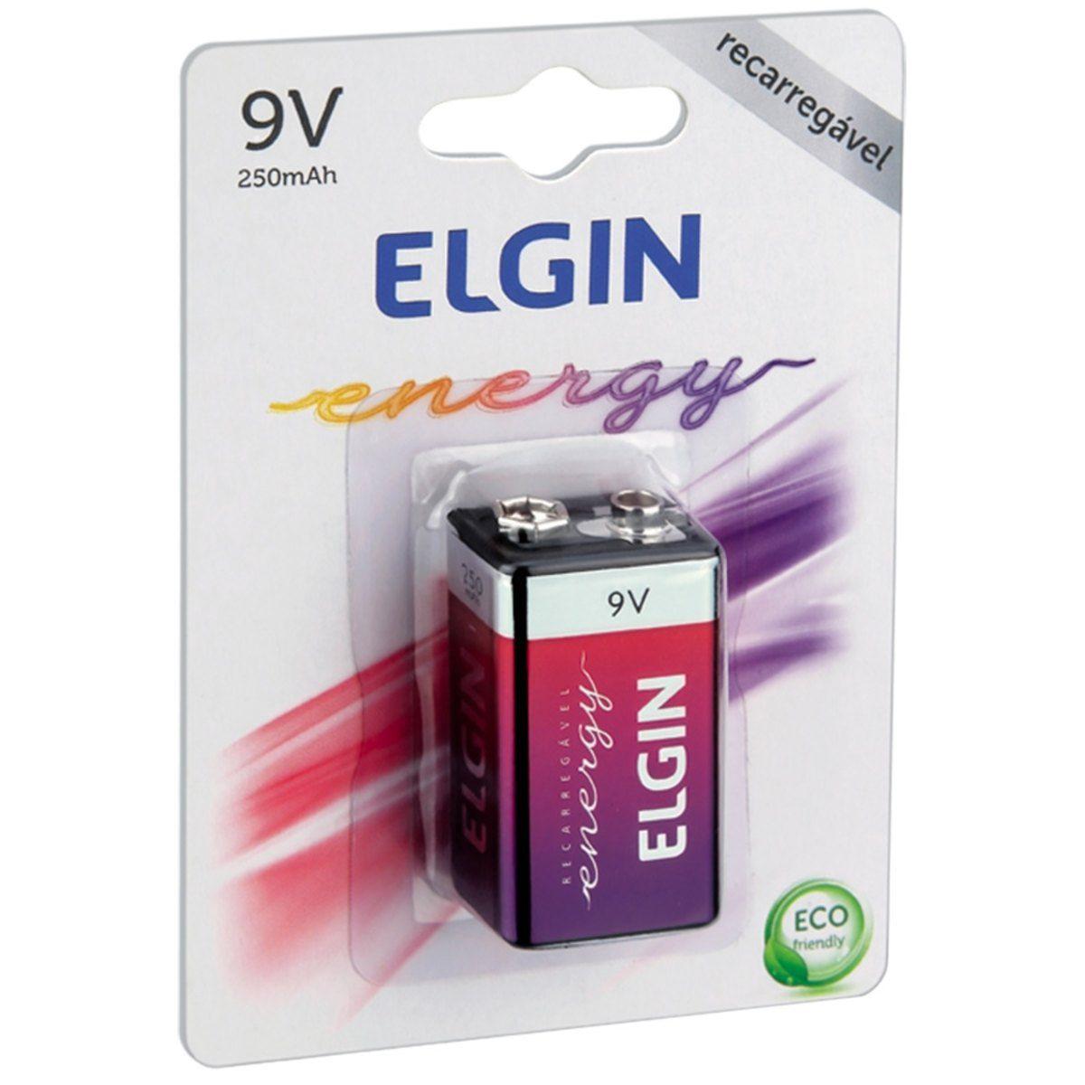 05 Baterias 9V 250mAh Recarregável ELGIN - 05 cartelas com 1 unidade