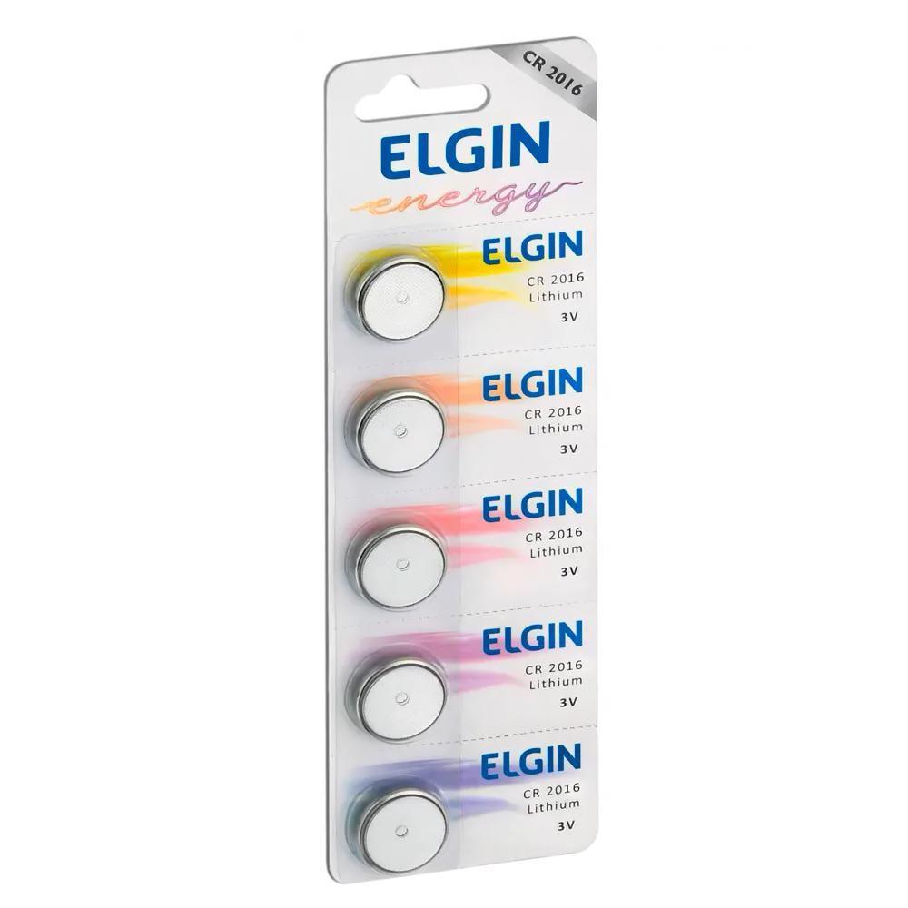 05 Baterias Pilhas Lithium Elgin CR2016 - 01 cartela com 5 unidades