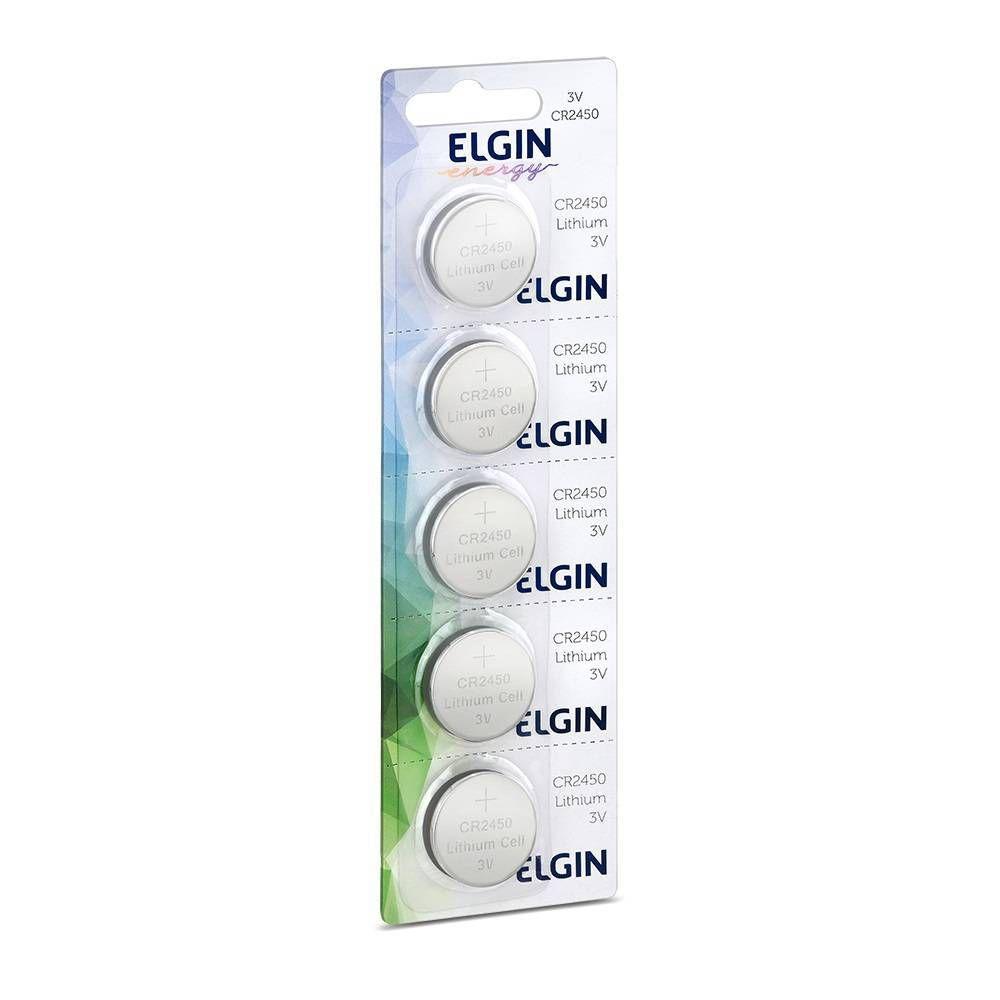 05 Baterias Pilhas Lithium Elgin CR2450 - 01 cartela com 5 unidades