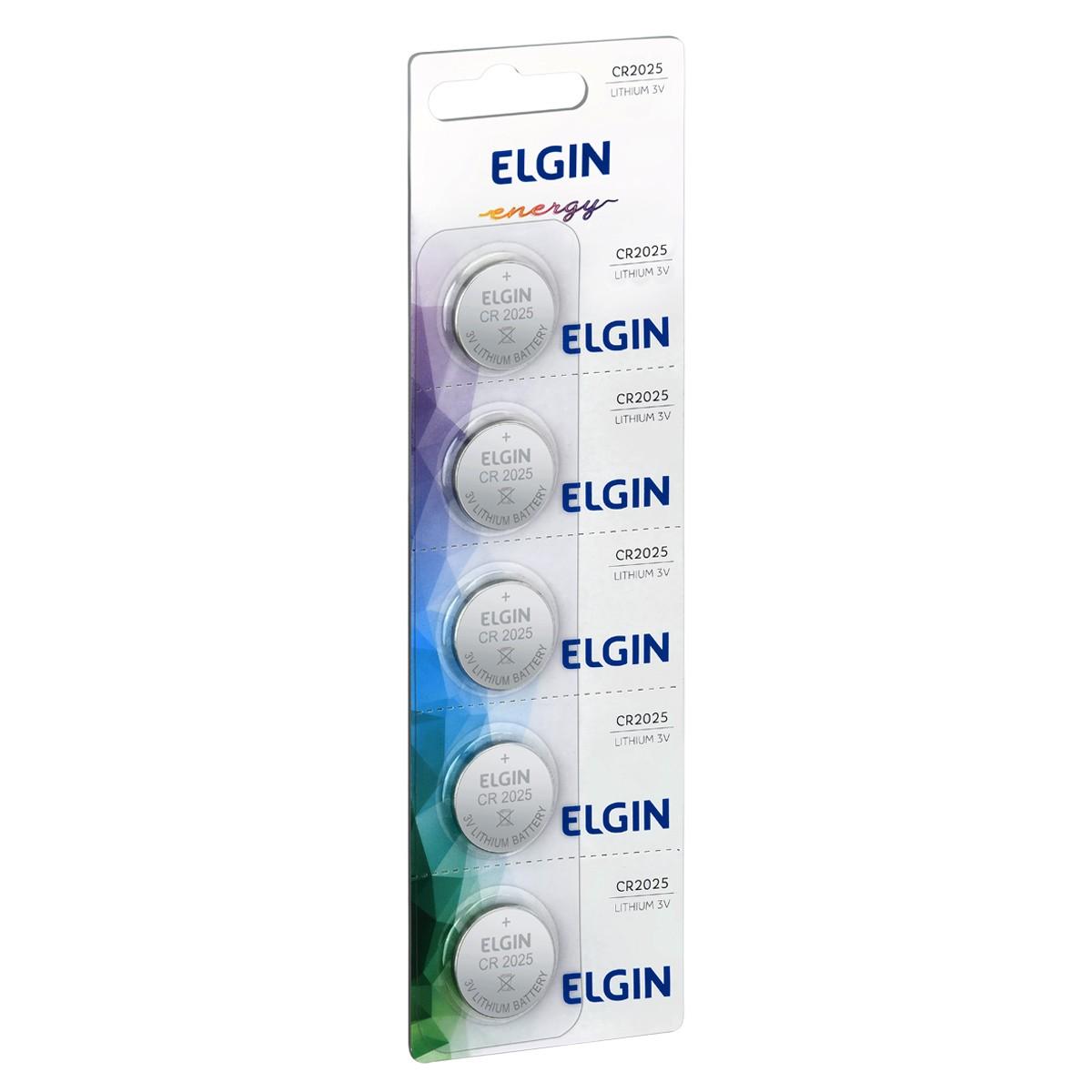 05 Baterias Pilhas Lithium 3V Elgin CR2025 1 cartela