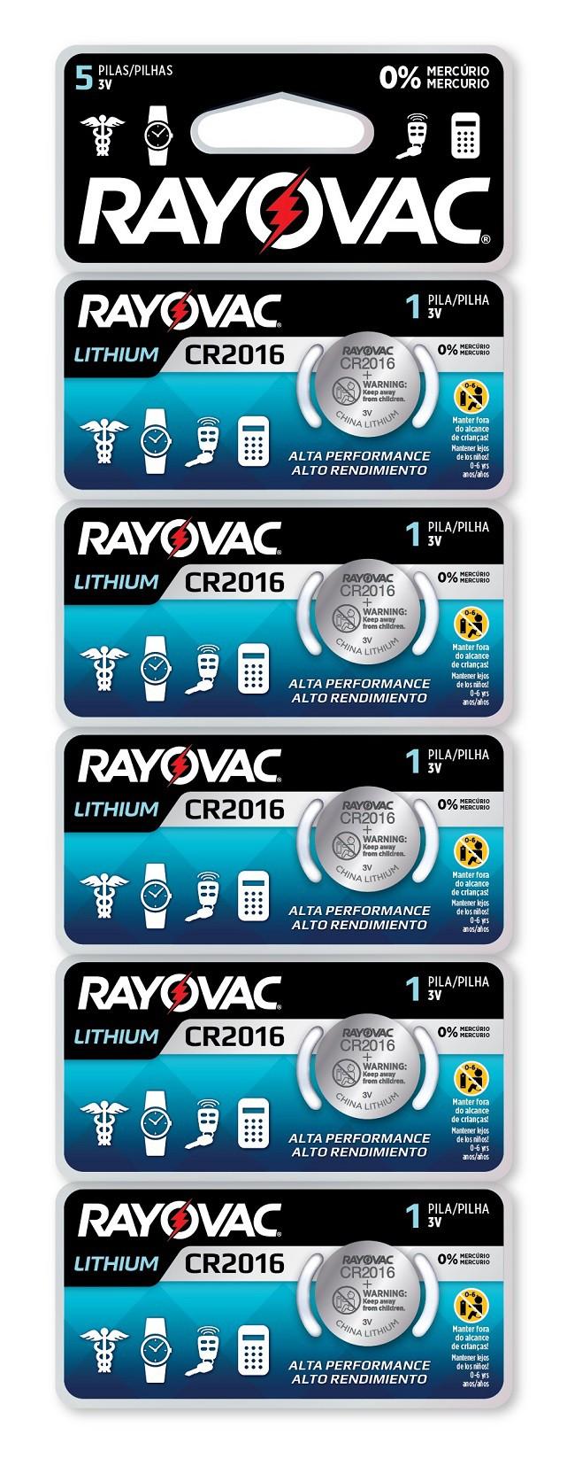 05 Baterias Pilhas Lithium 3V Rayovac CR2016 1 cartela