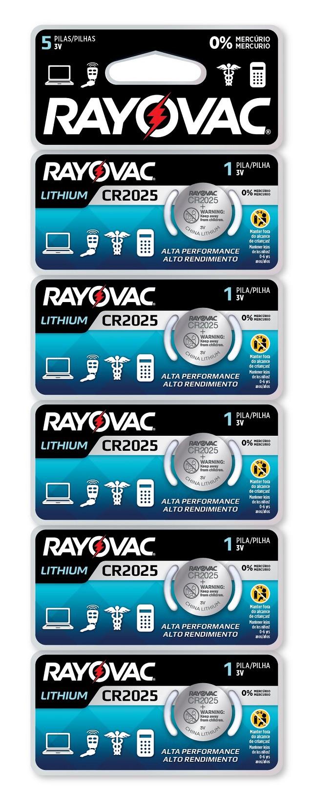 05 Baterias Pilhas Lithium 3V Rayovac CR2025 1 cartela