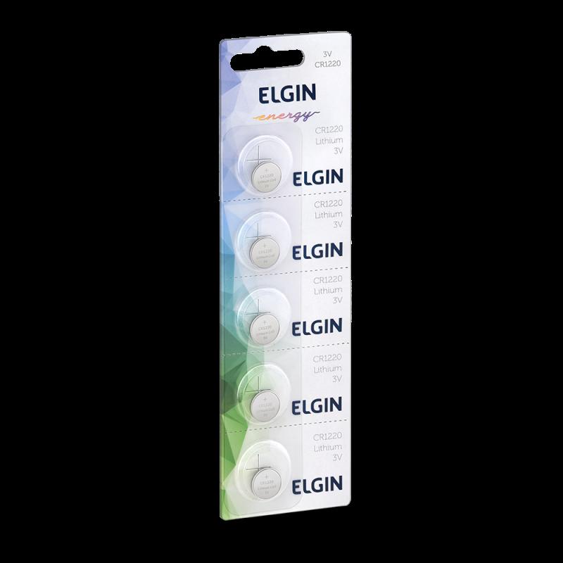 05 Baterias Pilhas Lithium Elgin CR1220 - 01 cartela com 5 unidades
