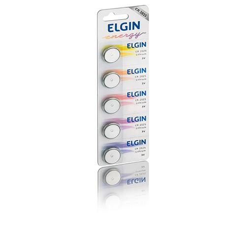05 Baterias Pilhas Lithium Elgin CR2025 - 01 cartela com 5 unidades