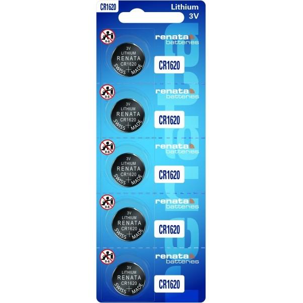 05 Baterias Pilhas Lithium Renata CR1620 1 cartela
