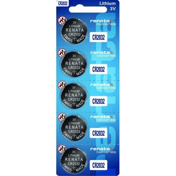 05 Baterias Pilhas Lithium Renata CR2032 1 cartela