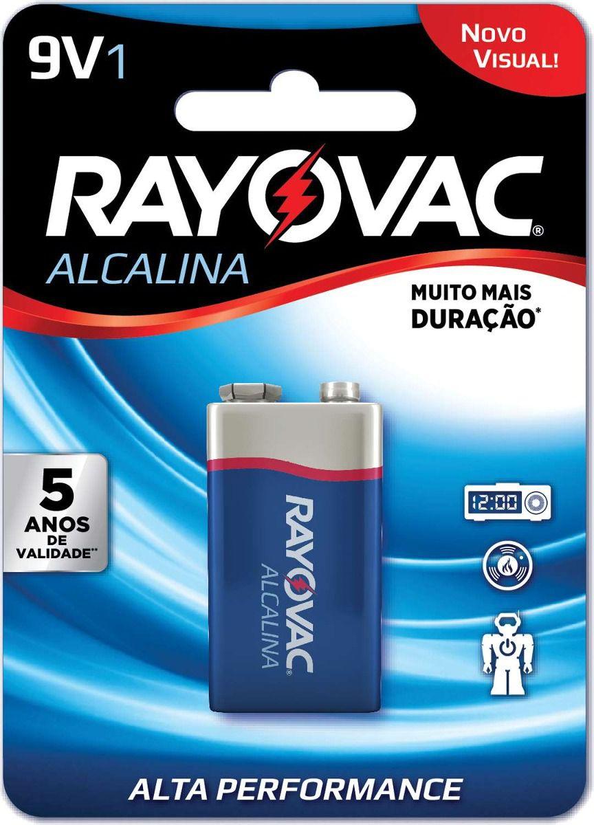05 Pilhas Bateria 9V Alcalina RAYOVAC - 05 cartelas com 1 unidade