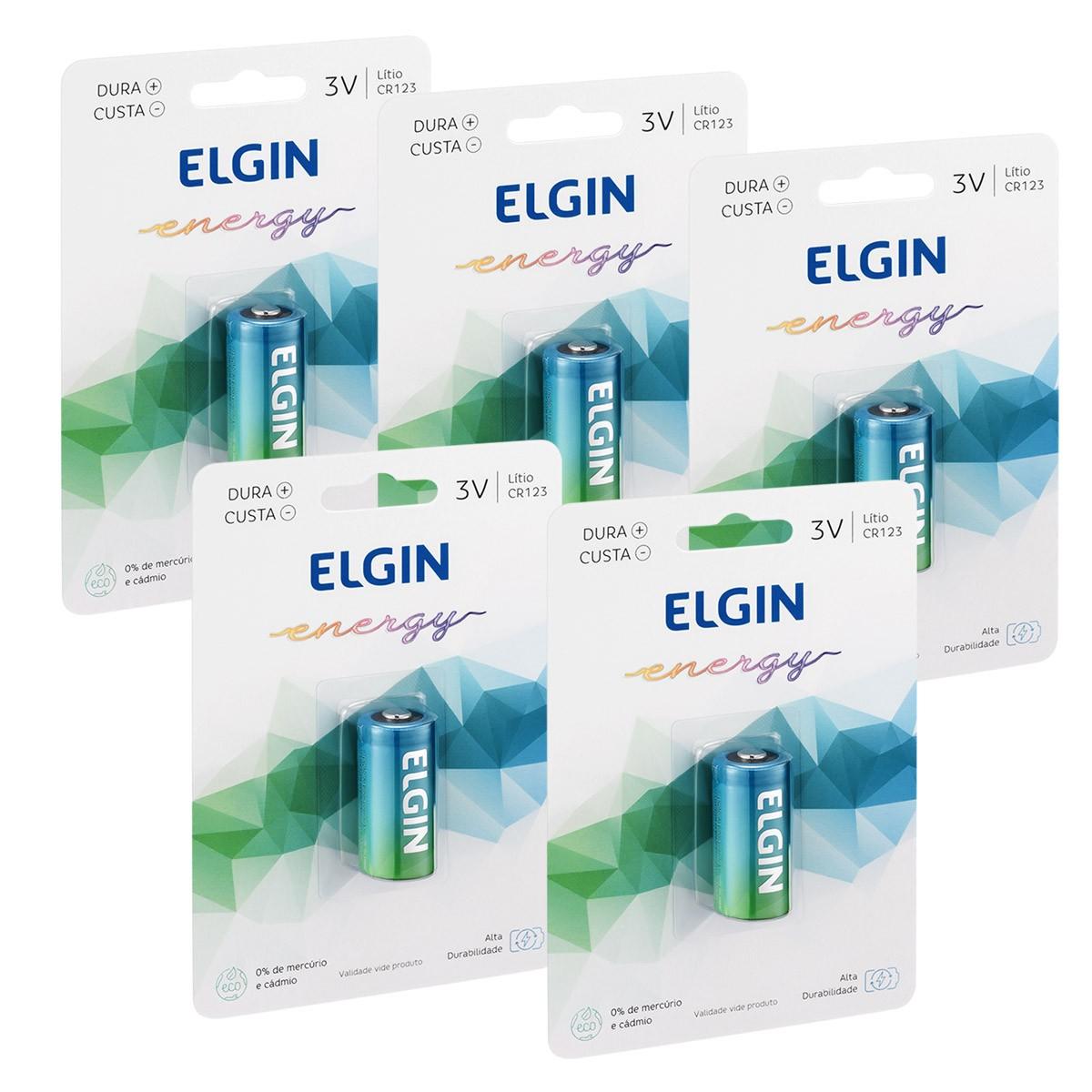 05 Pilha Bateria CR123A 3V Lithium ELGIN 5 cartela