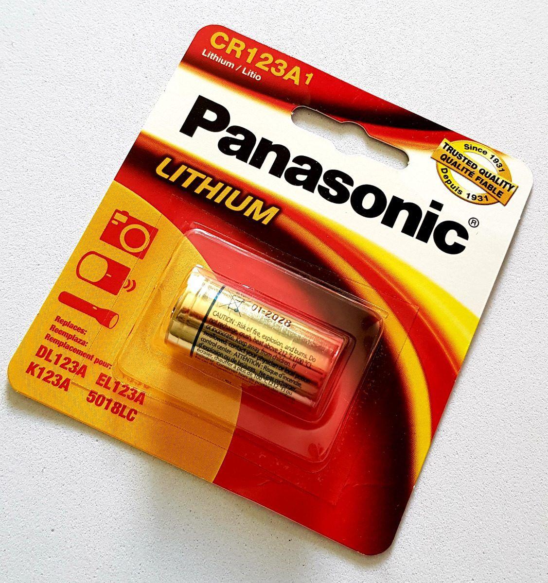 05 Pilha CR123A 3V Lithium PANASONIC- 05 cartelas com 1 unidade