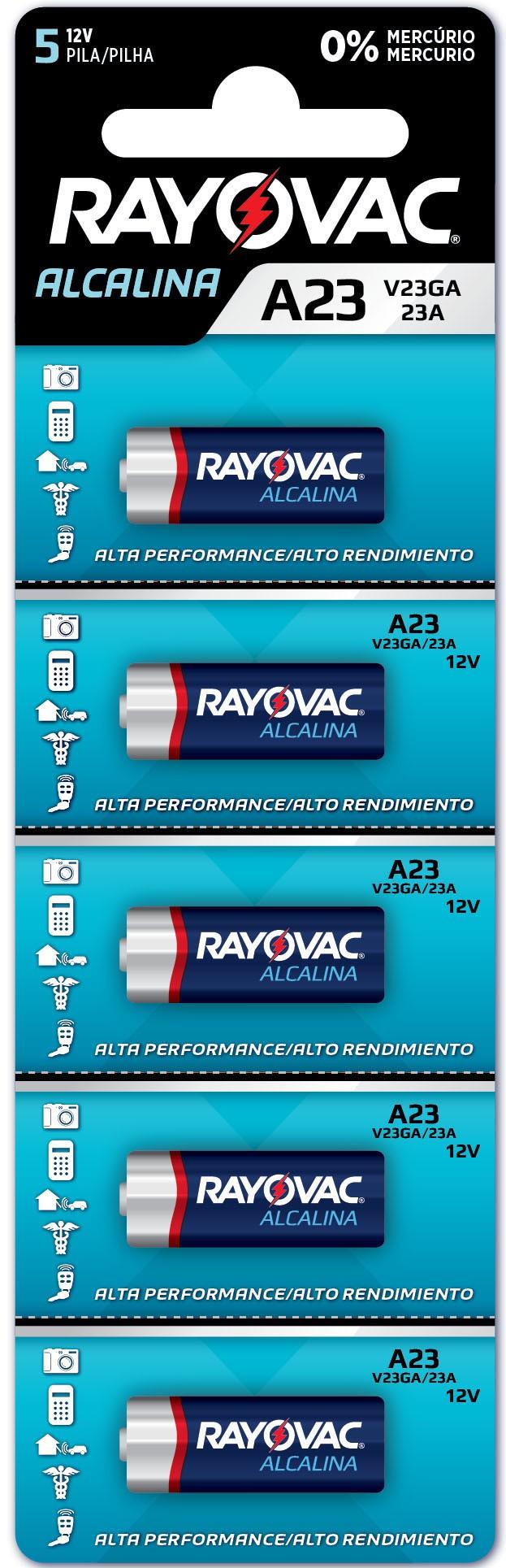 05 Pilhas Baterias A23 23A 8LR932 Alcalina RAYOVAC - 1 cartela