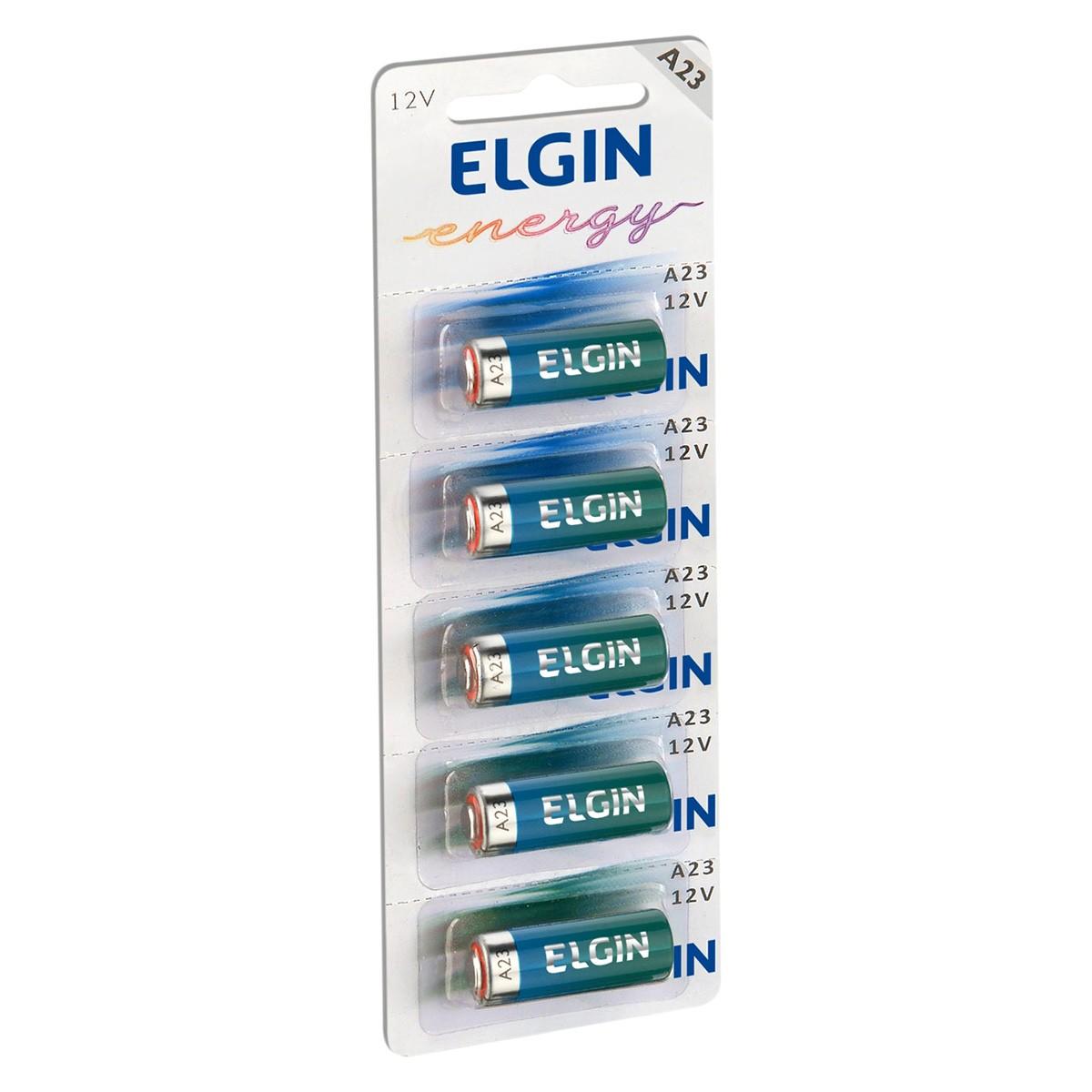 05 Pilhas Baterias ELGIN 23A 12V A23 Alcalina 1 cartela