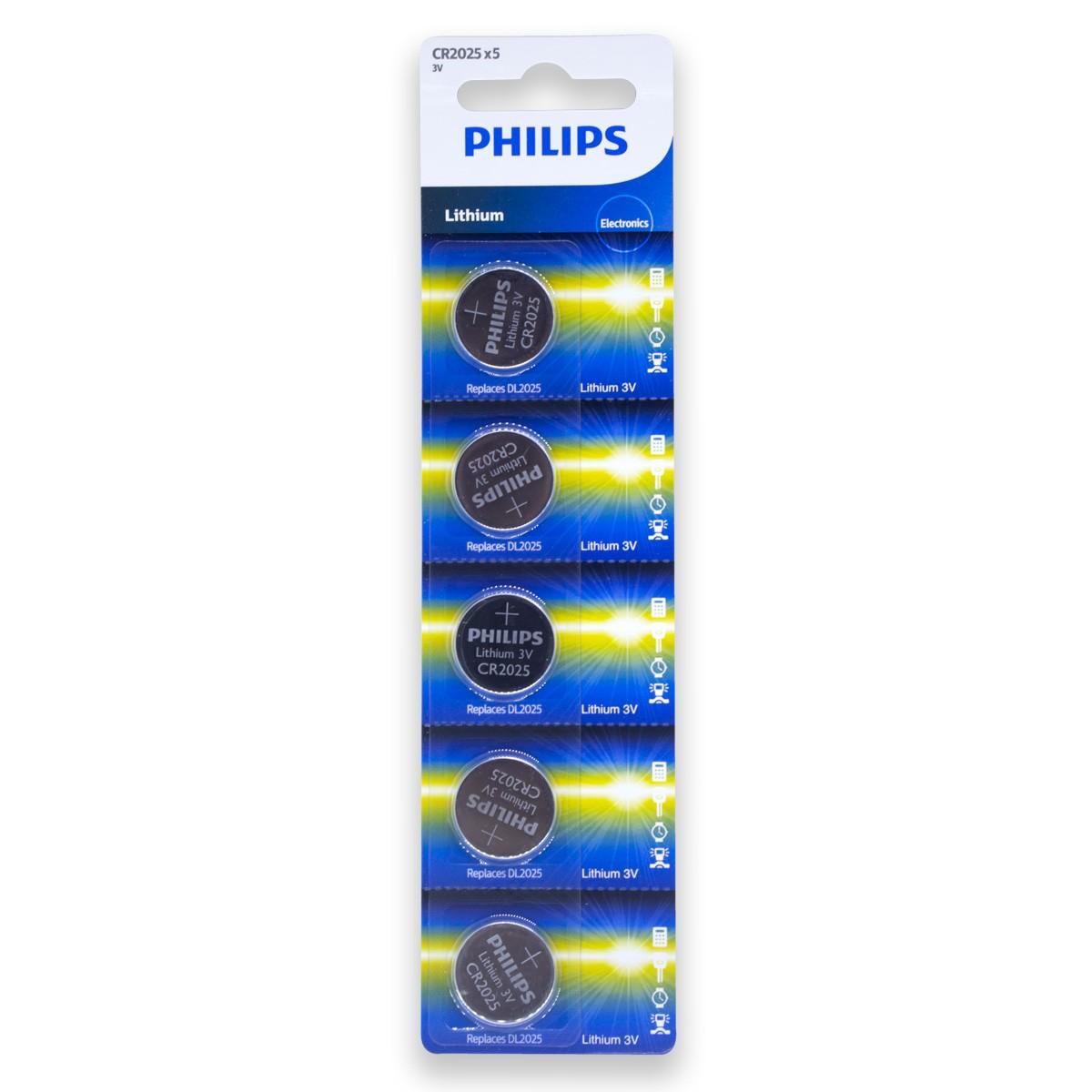 05 Pilhas PHILIPS CR2025 3v Bateria Original - 01 cartela