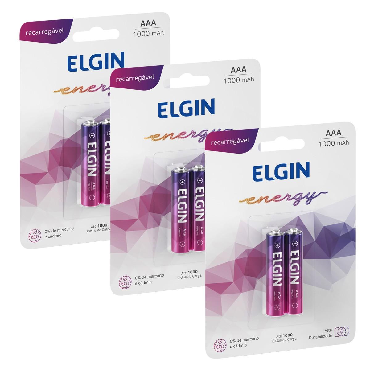 06 Baterias ELGIN AAA 1000mAh Recarregável Alcalina 3 cartela