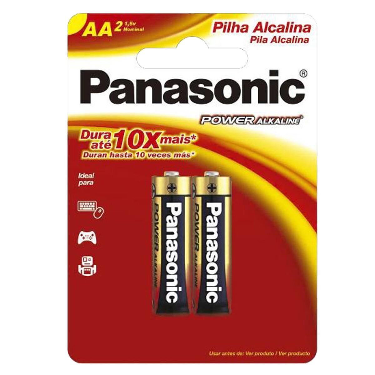 06 Pilhas AA Alcalina PANASONIC 3 cartelas