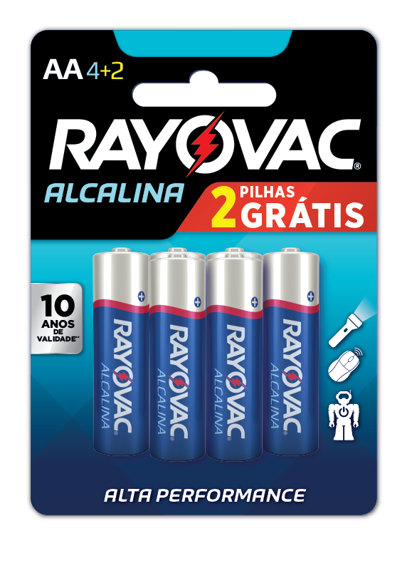 06 Pilhas AA Alcalina RAYOVAC 1 cart c/ 6 unid