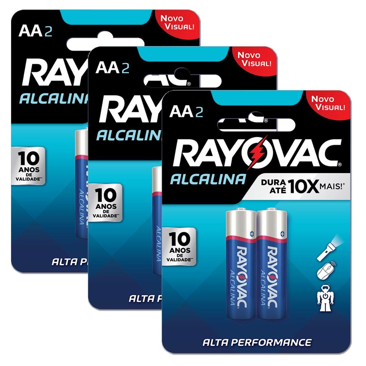 06 Pilhas AA Alcalina RAYOVAC 3 cartelas