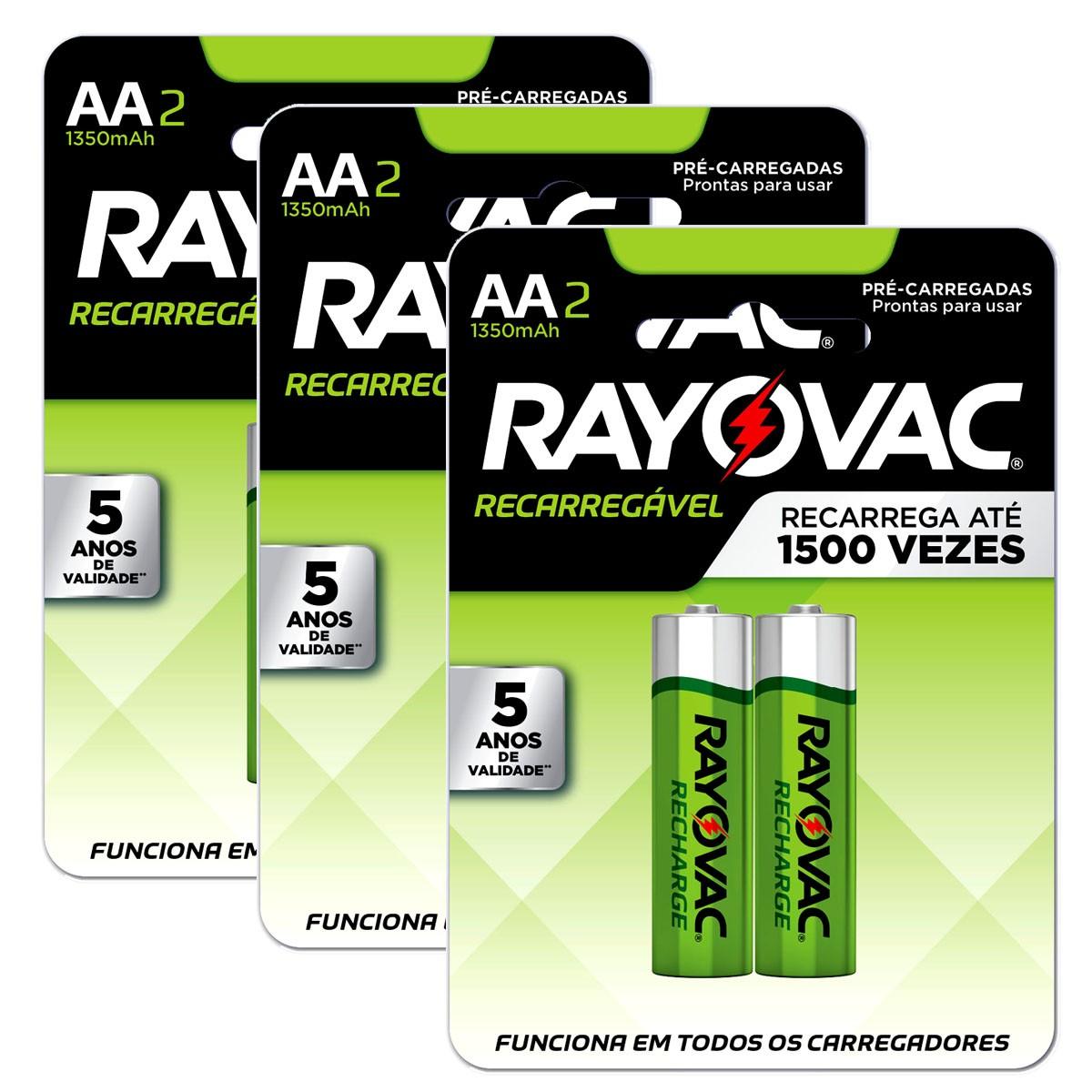 06 Pilhas AA Recarregável 1350mAh RAYOVAC 3 cartelas