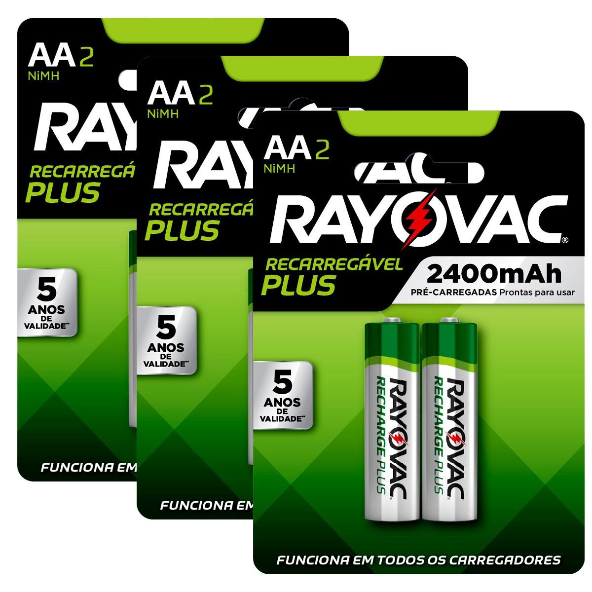 06 Pilhas AA Recarregável 2400mAh RAYOVAC 3 cartelas