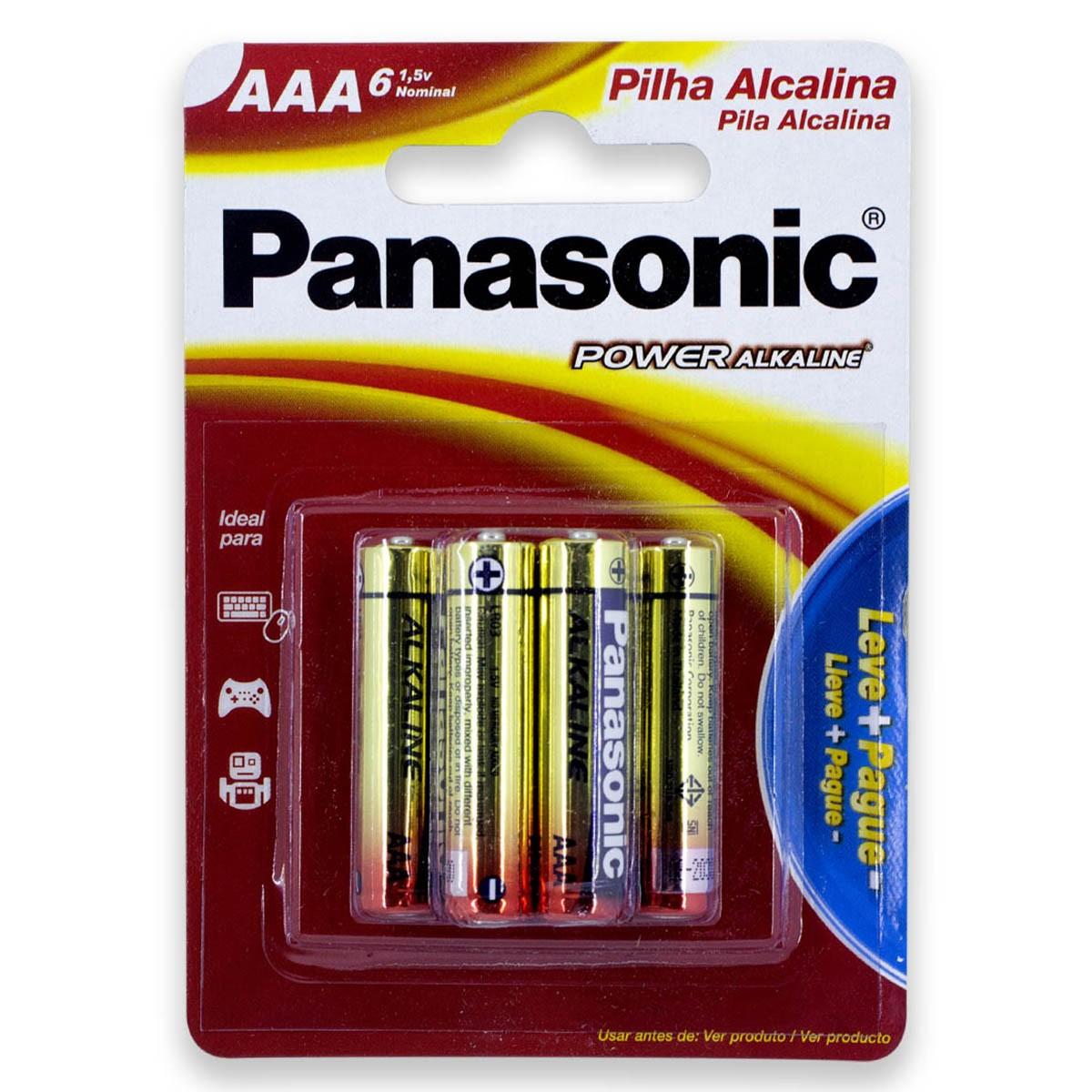 06 Pilhas AAA Alcalina PANASONIC 1 cartela