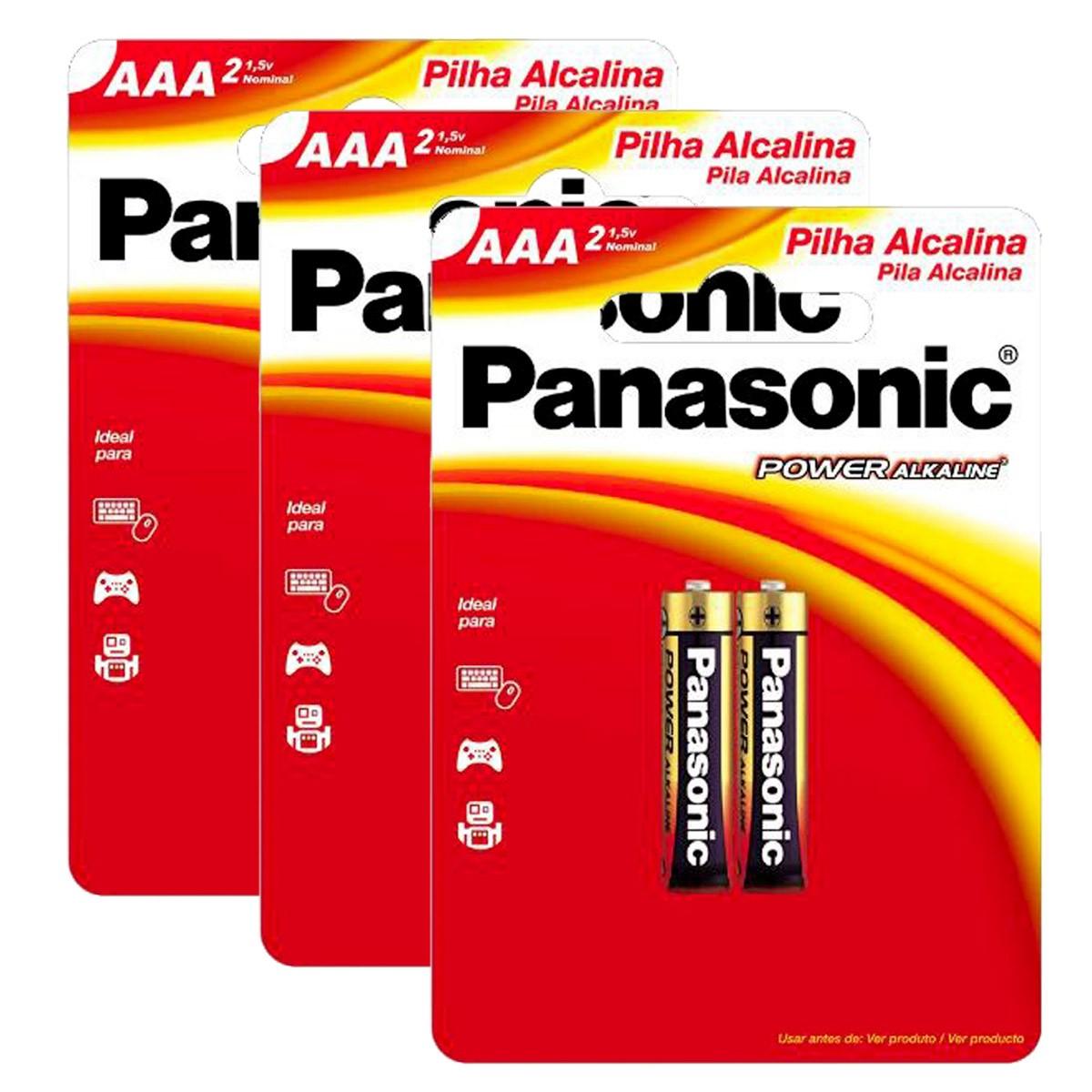 06 Pilhas AAA Alcalina PANASONIC 3 cartelas