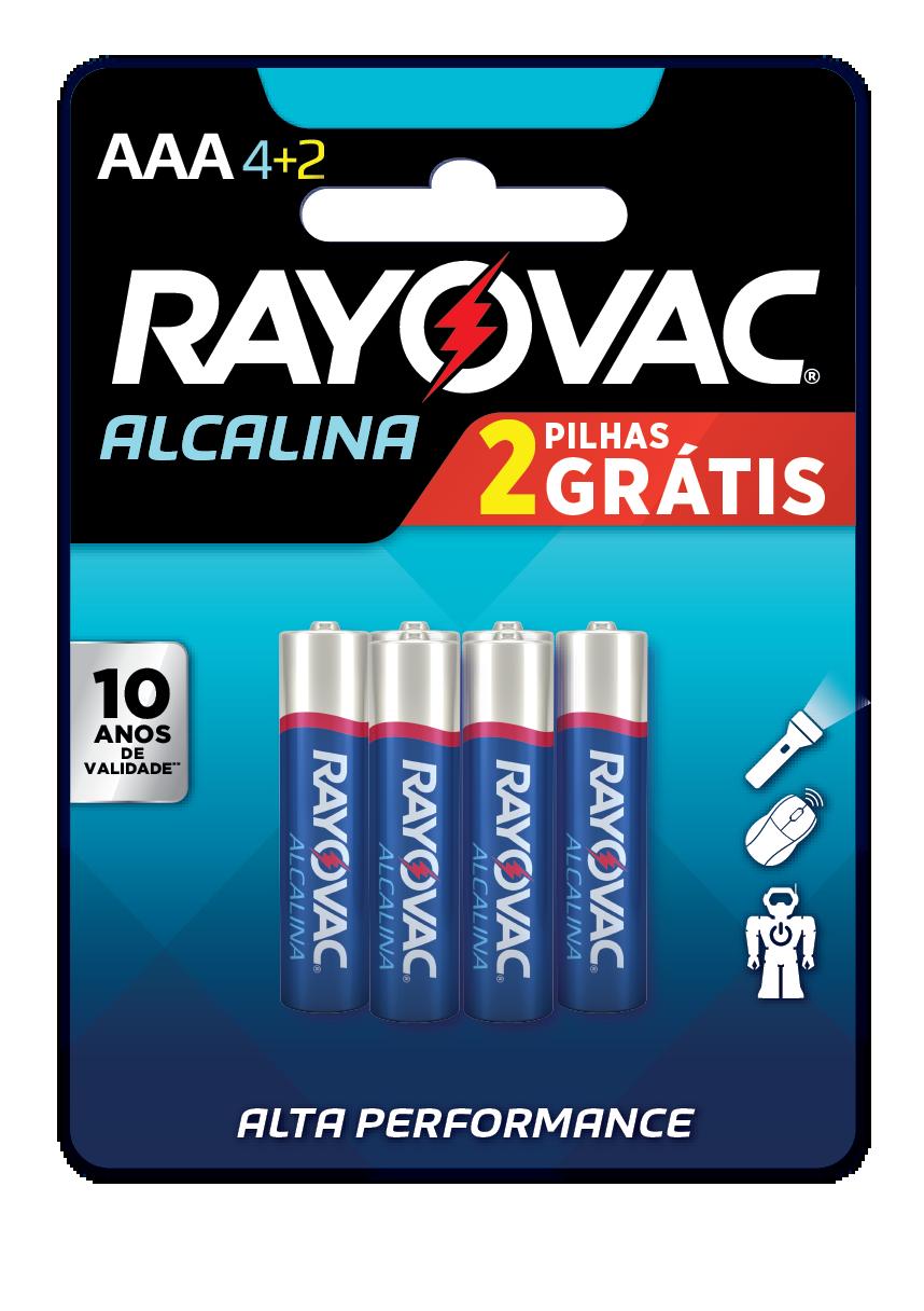 06 Pilhas AAA Alcalina RAYOVAC 1 cart c/ 6 unid