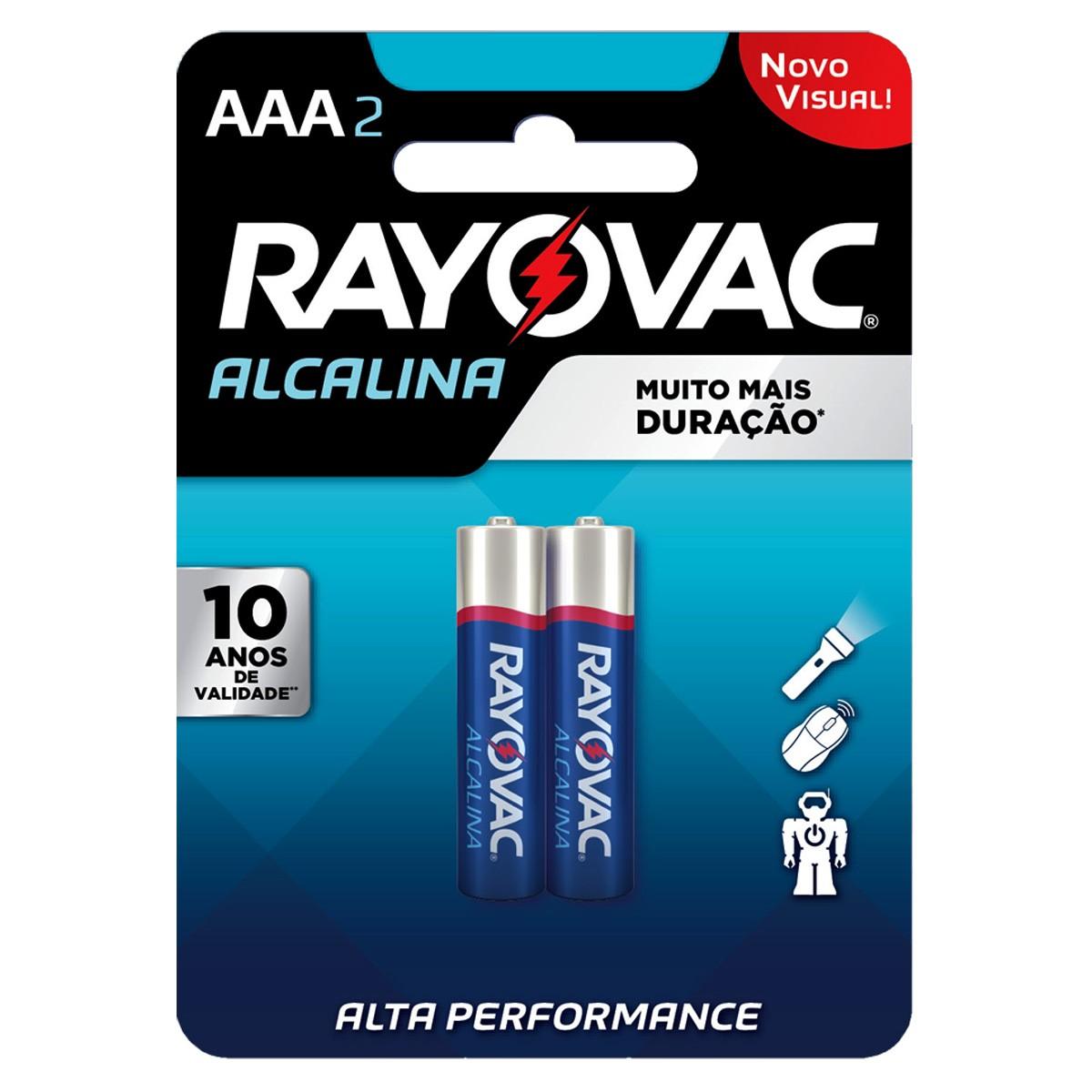 06 Pilhas AAA Alcalina RAYOVAC 3 cartelas