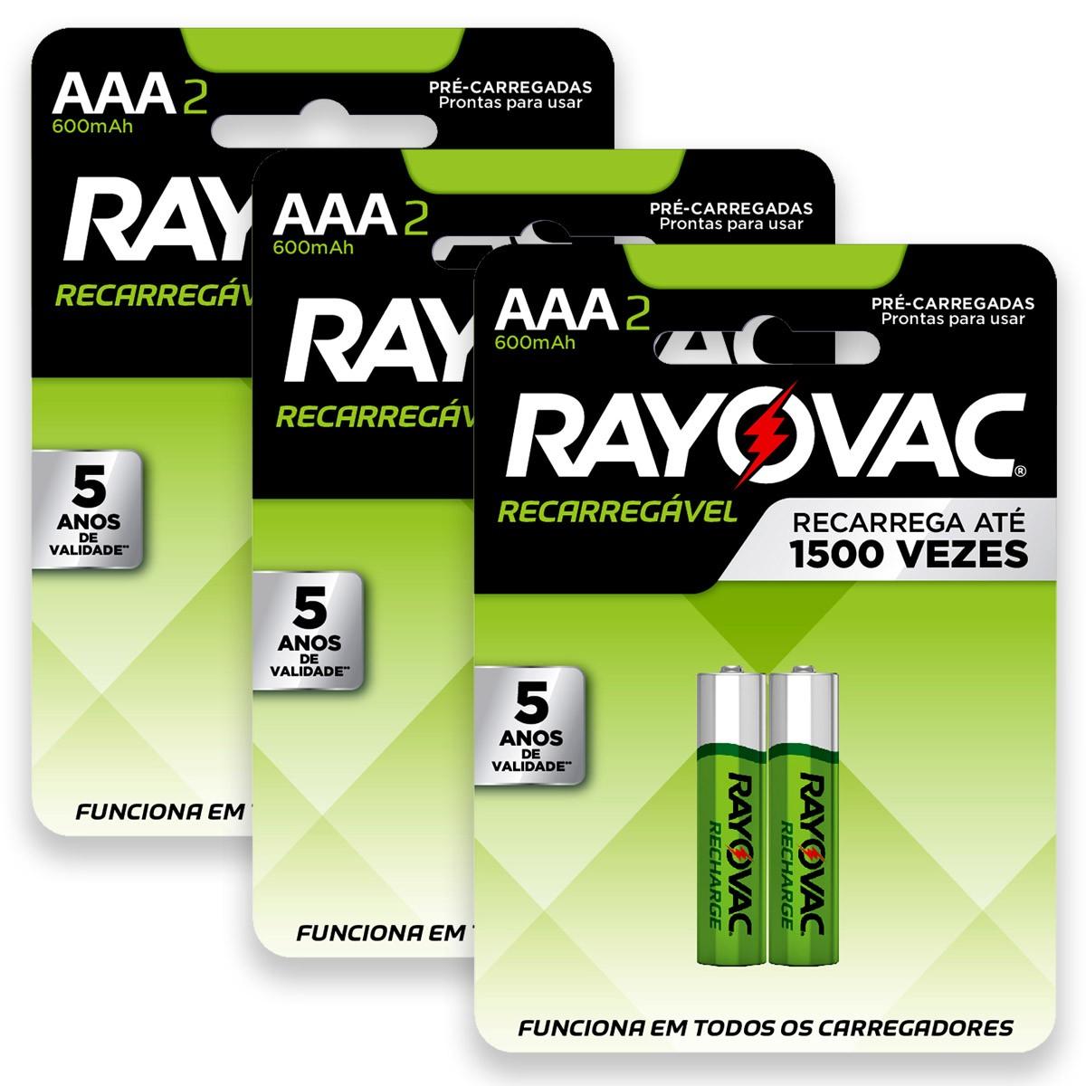 06 Pilhas AAA Recarregável 600mAh RAYOVAC 3 cartelas