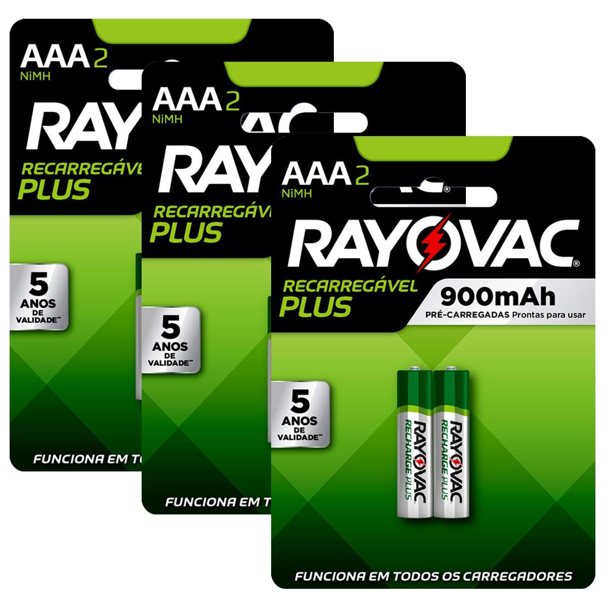 06 Pilhas AAA Recarregável 900mAh RAYOVAC 3 cartelas