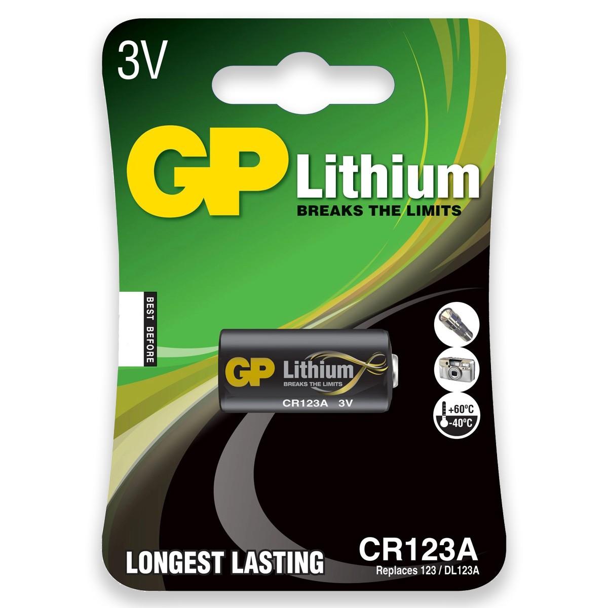 06 Pilhas Bateria CR123A 3V GP 6 cartelas
