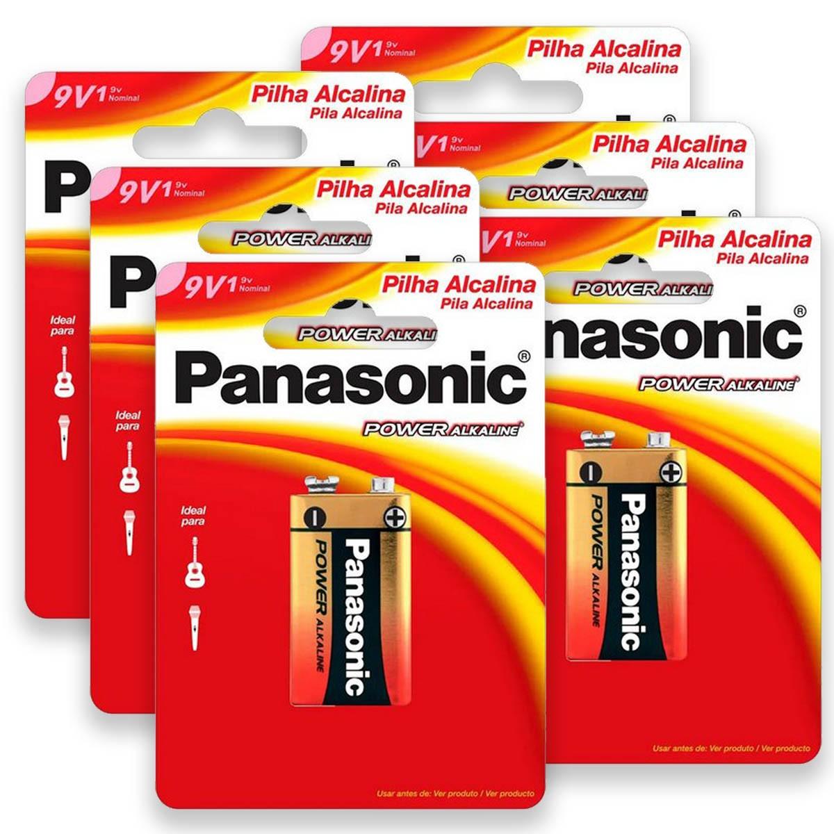06 Pilhas Baterias 9V Alcalina PANASONIC 6 cartelas