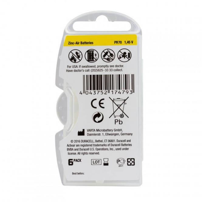 06 Pilhas Baterias DA 10 PR70 Aparelho Auditivo - Duracell