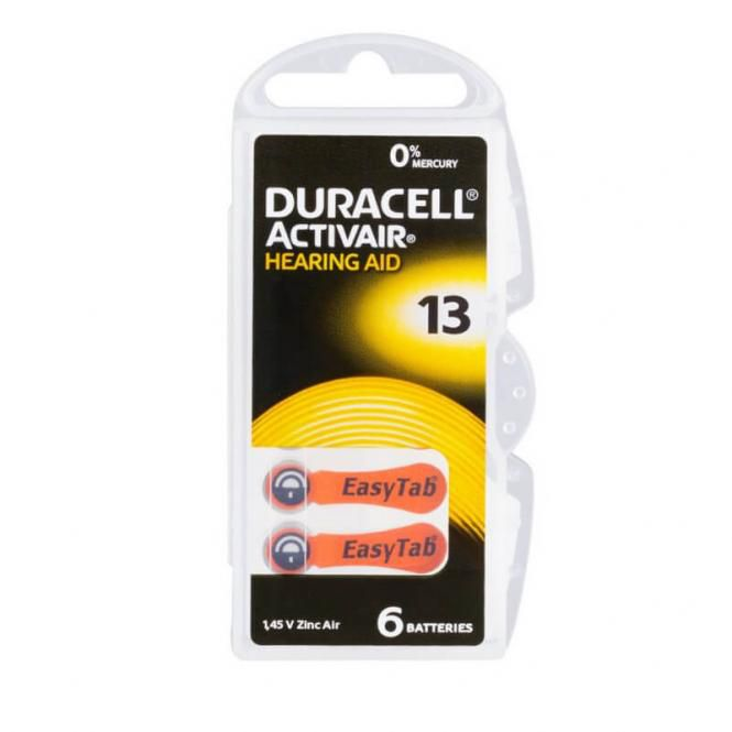 06 Pilhas Baterias DA 13 PR48 Aparelho Auditivo - Duracell