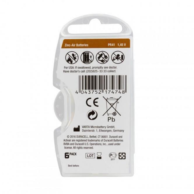 06 Pilhas Baterias DA 312 PR41 Aparelho Auditivo - Duracell