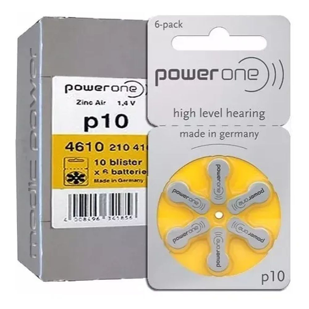 06 Pilhas Baterias P 10 PR70 Aparelho Auditivo - Power One