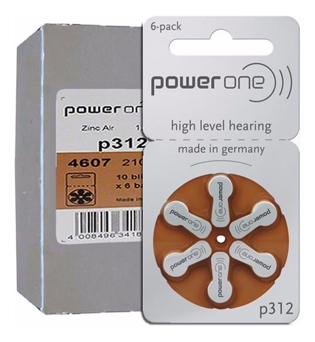 06 Pilhas Baterias P 312 PR41 Aparelho Auditivo - Power One
