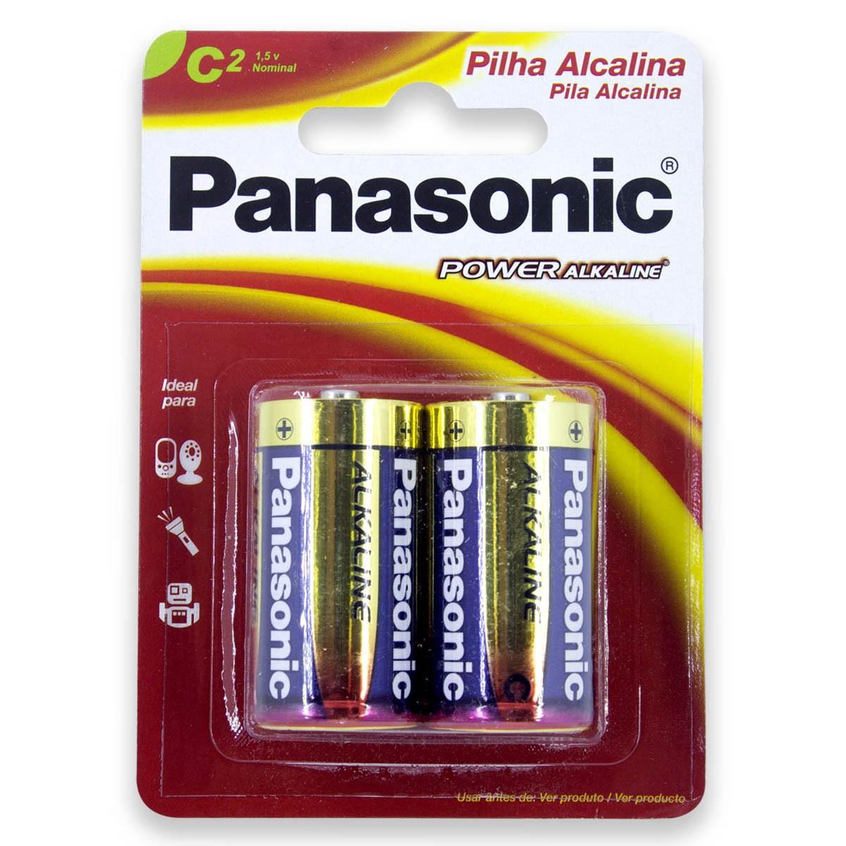 06 Pilhas C Média LR14 Alcalina PANASONIC 3 cartelas