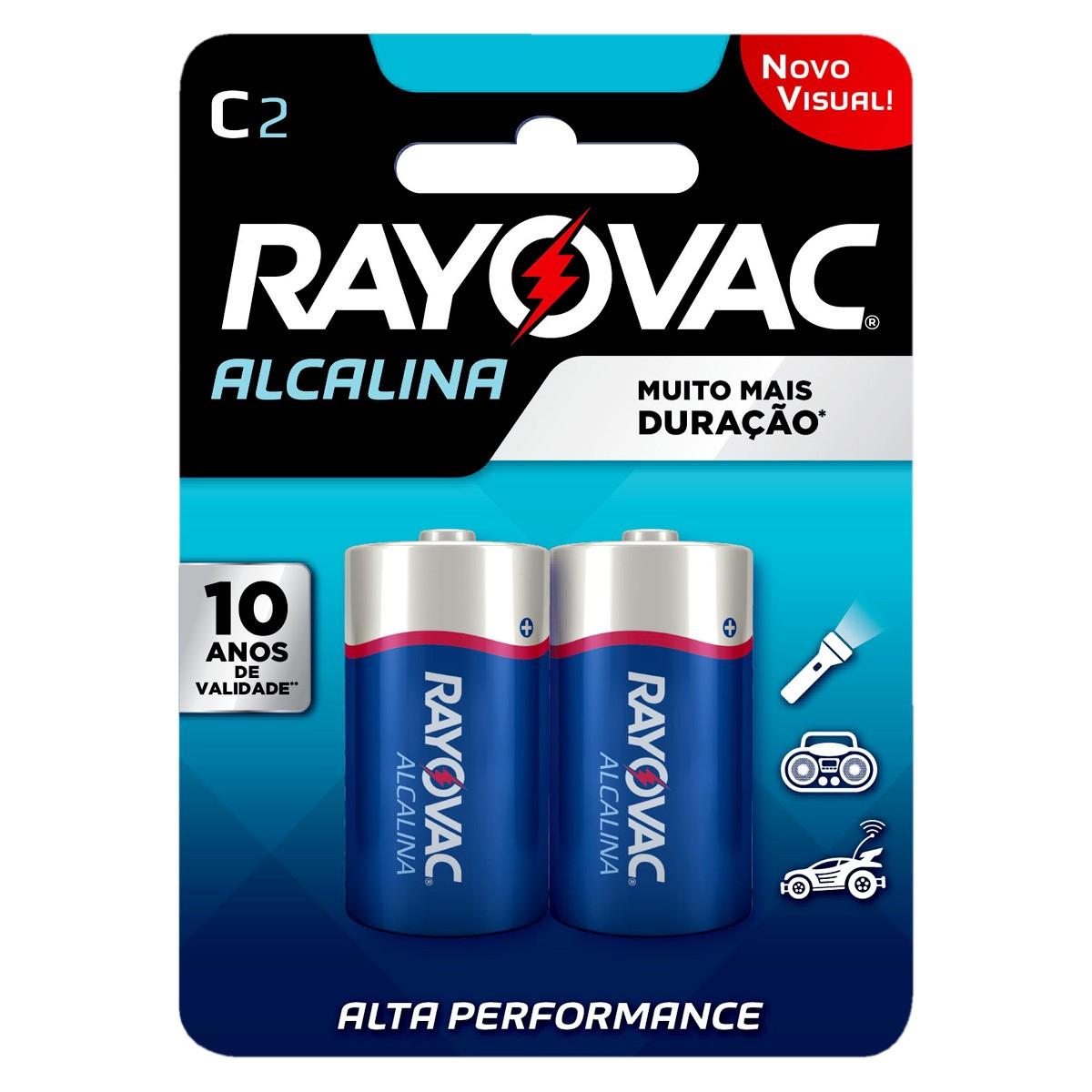 06 Pilhas C Média LR14 Alcalina RAYOVAC 3 Cartelas
