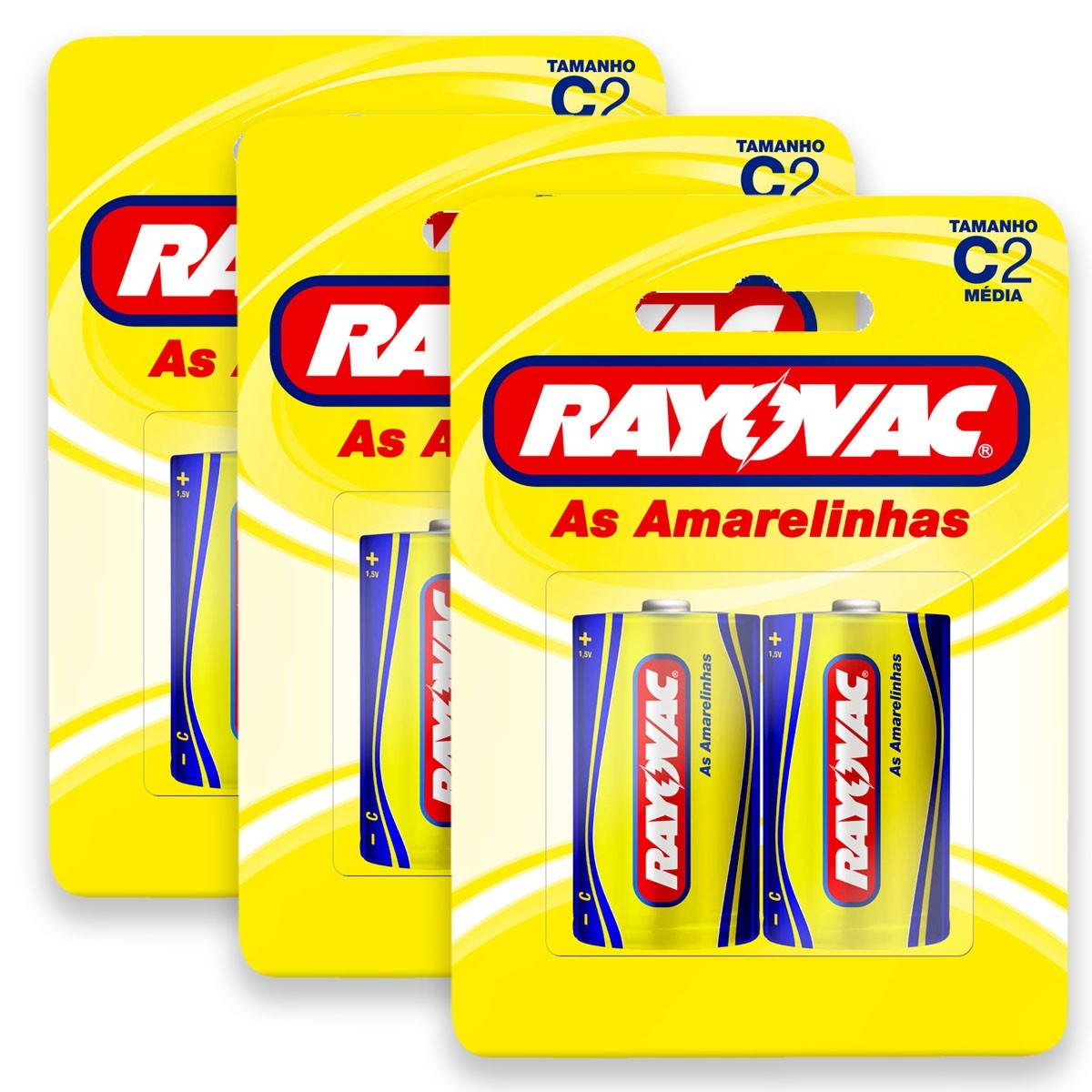 06 Pilhas C Zinco Carvão RAYOVAC 3 cartelas