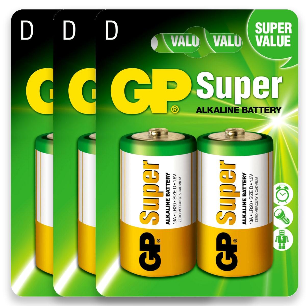 06 Pilhas D Grande LR20 Alcalina GP Super 3 Cartelas
