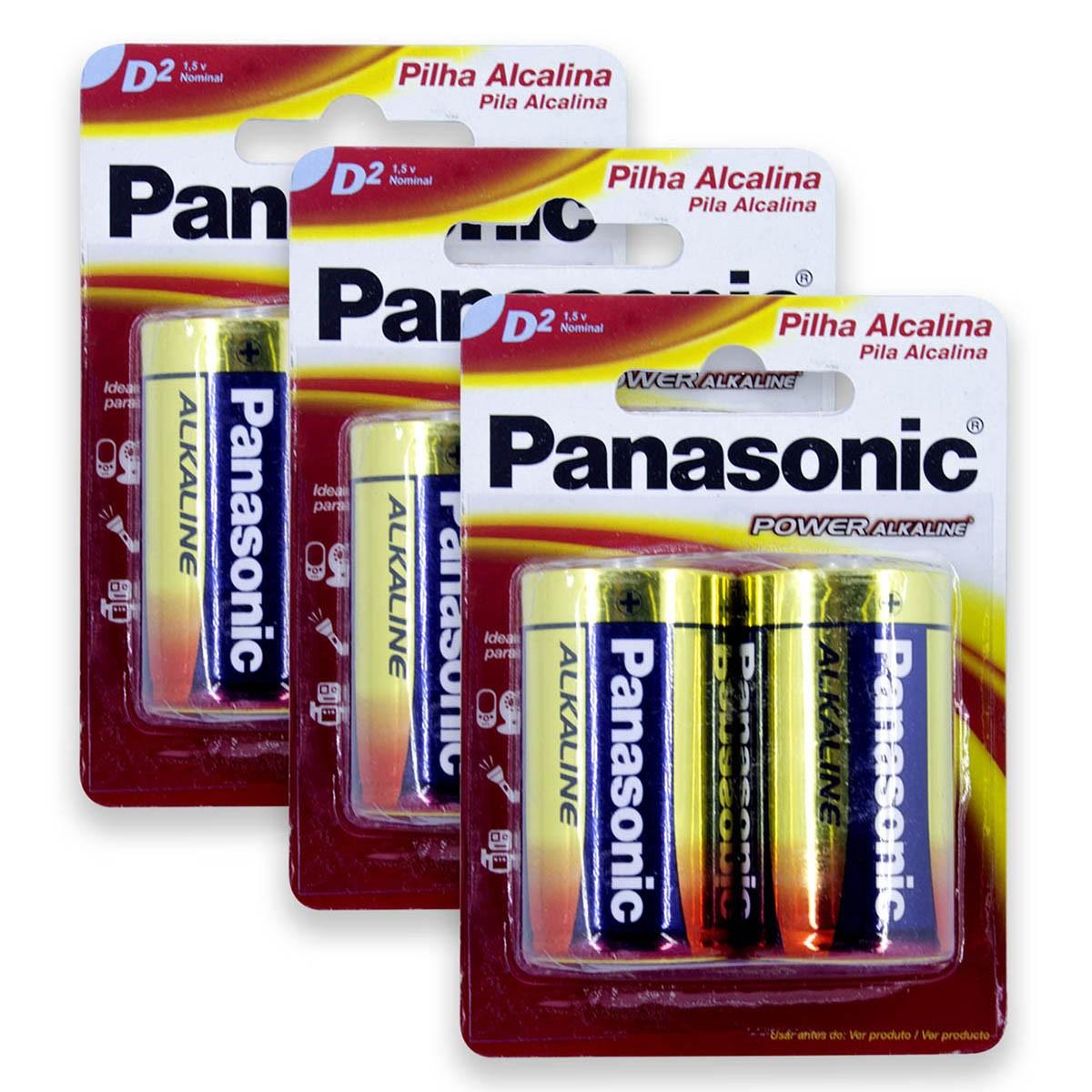 06 Pilhas D Grande LR20 Alcalina PANASONIC 3 Cartelas
