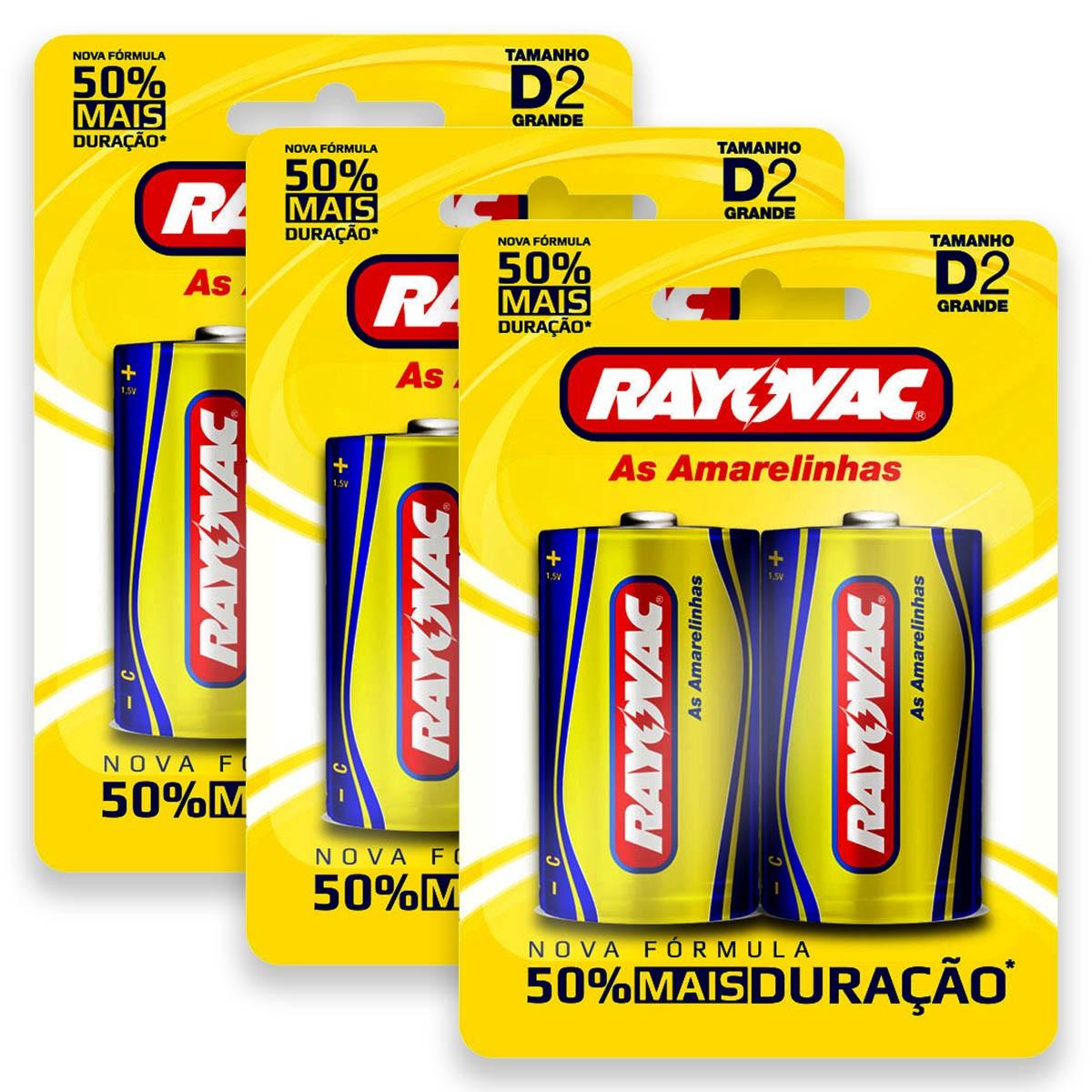 06 Pilhas D Zinco Carvão RAYOVAC 3 cartelas