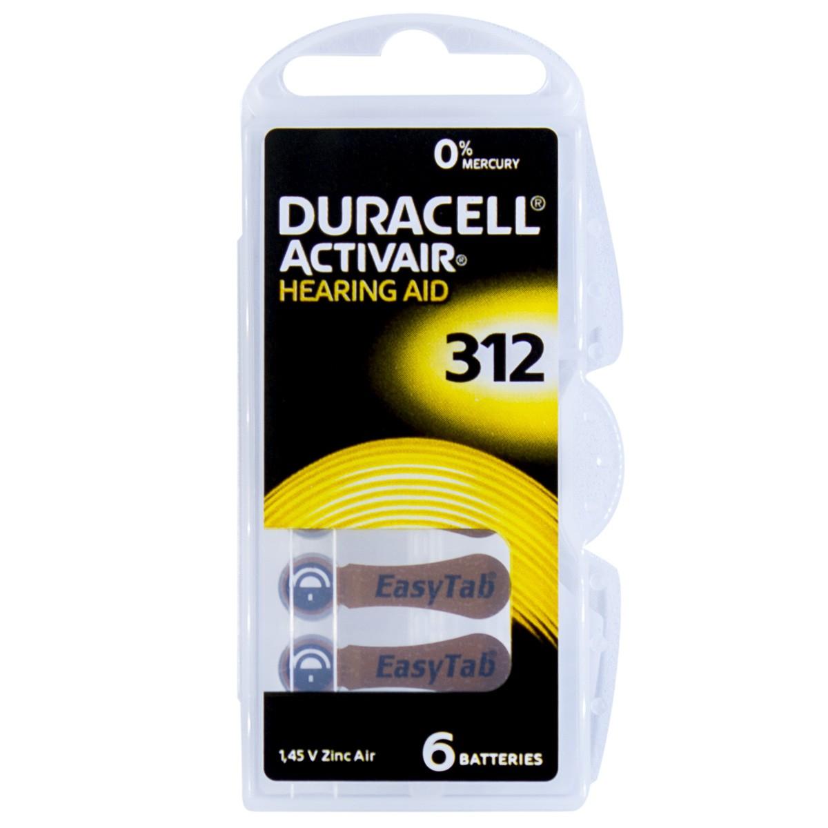 06 Pilhas DA312 DURACELL baterias PR41 Aparelho auditivo