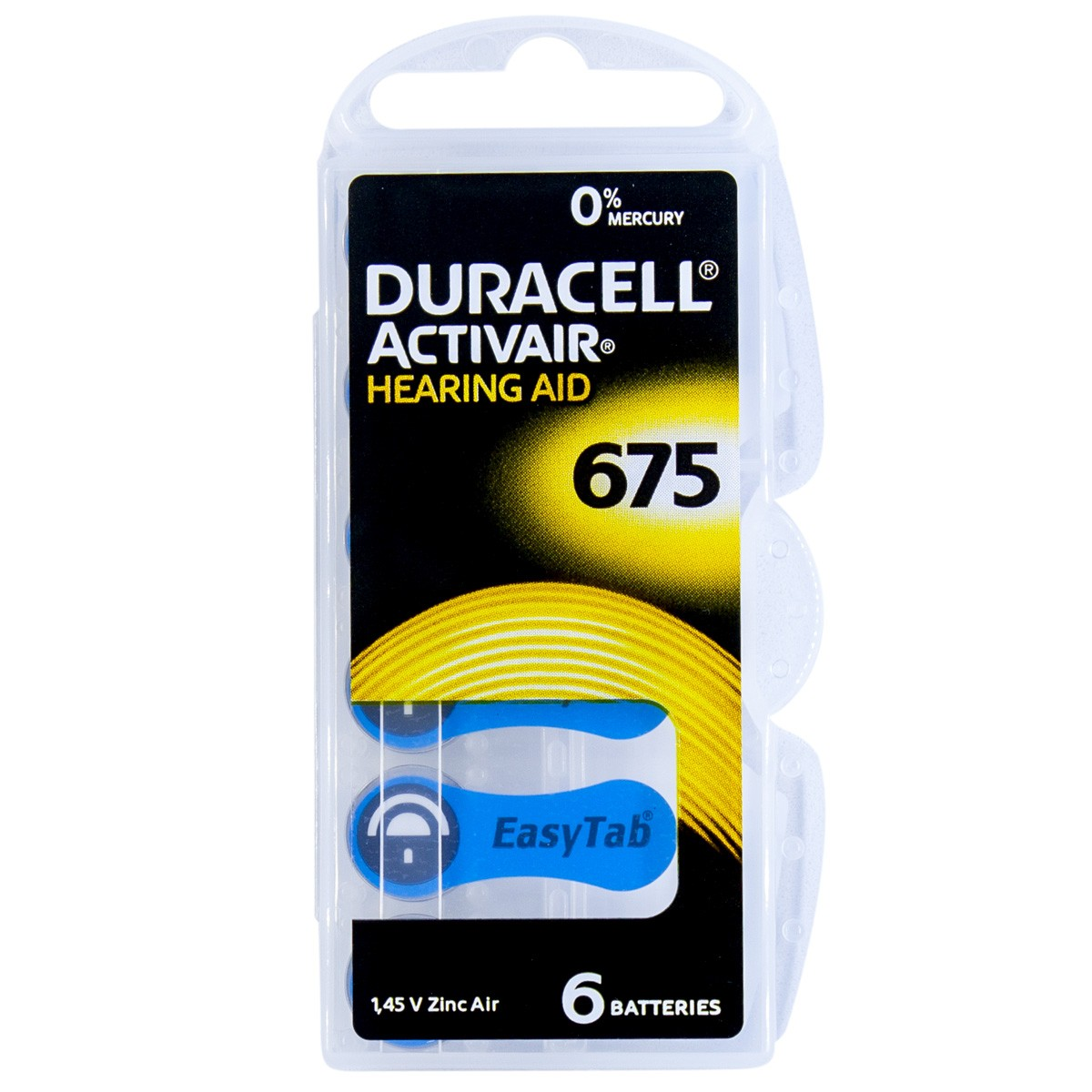 06 Pilhas DA675 DURACELL baterias PR44 Aparelho auditivo