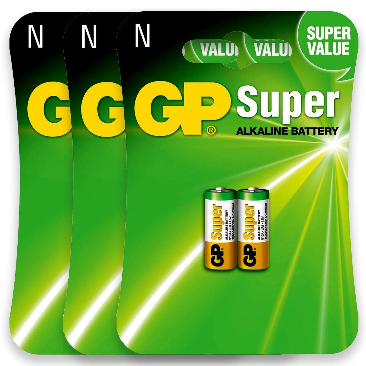 06 Pilhas GP SUPER TIPO N LR1 Bateria Alcalina 3 cartelas
