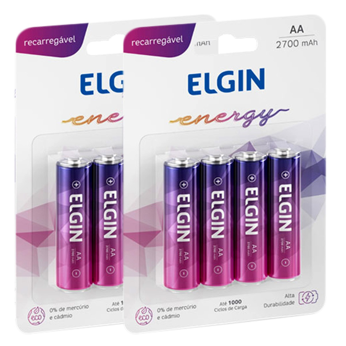 08 Bateria ELGIN AA 2700mAh Recarregável Alcalina 2 cartela
