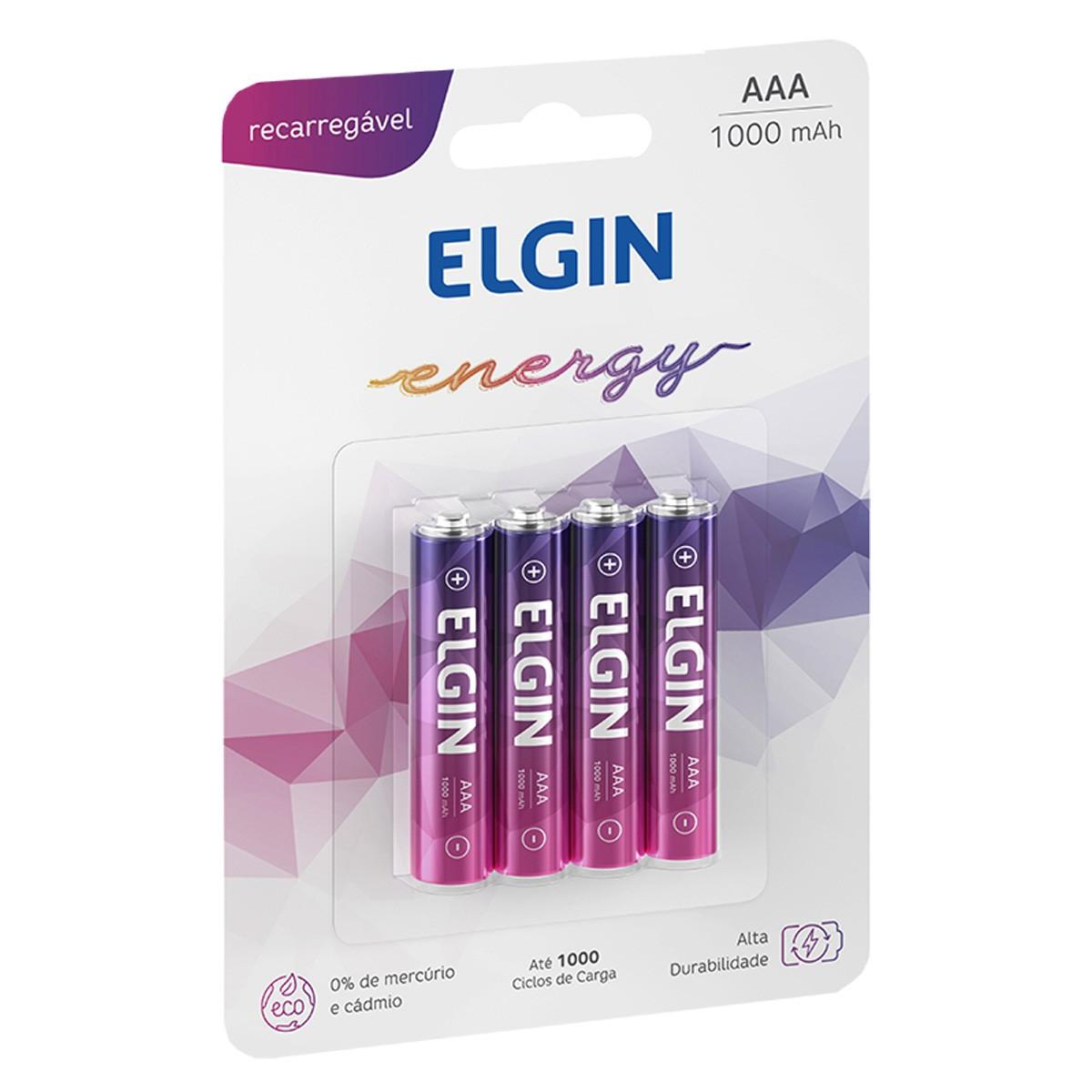08 Bateria ELGIN AAA 1000mAh Recarregável Alcalina 2 cartela